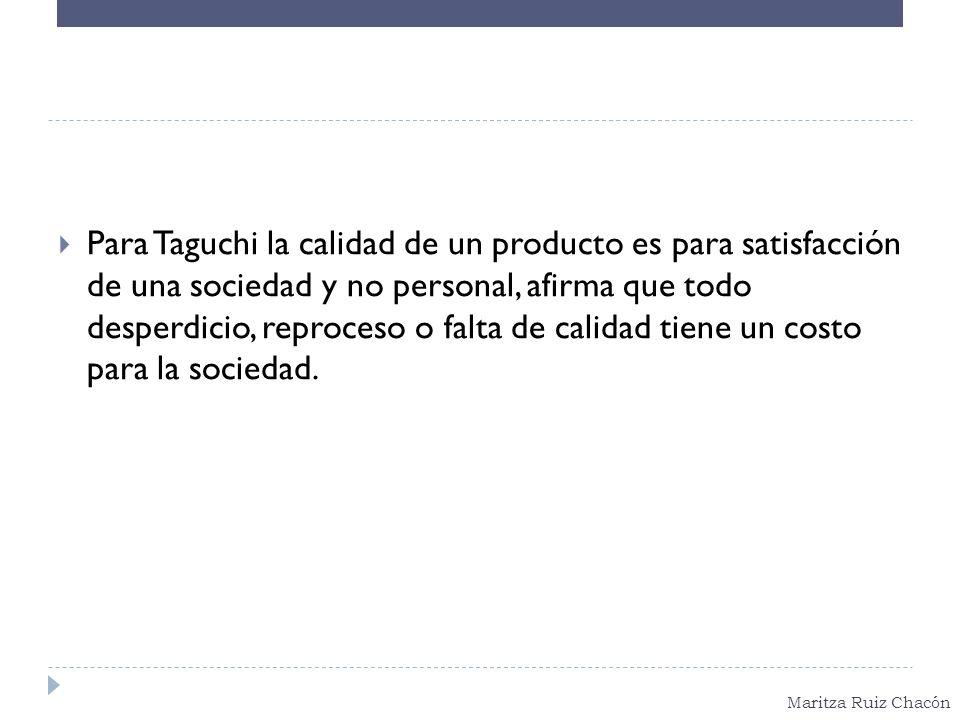 Maritza Ruiz Chacón Para Taguchi la calidad de un producto es para satisfacción de una sociedad y no personal, afirma que todo desperdicio, reproceso