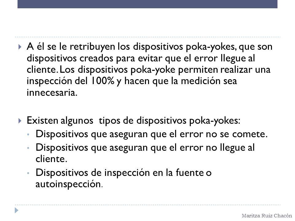 Maritza Ruiz Chacón A él se le retribuyen los dispositivos poka-yokes, que son dispositivos creados para evitar que el error llegue al cliente. Los di