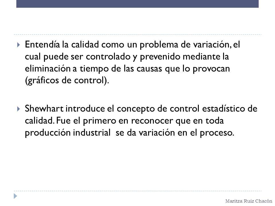 Maritza Ruiz Chacón Entendía la calidad como un problema de variación, el cual puede ser controlado y prevenido mediante la eliminación a tiempo de la