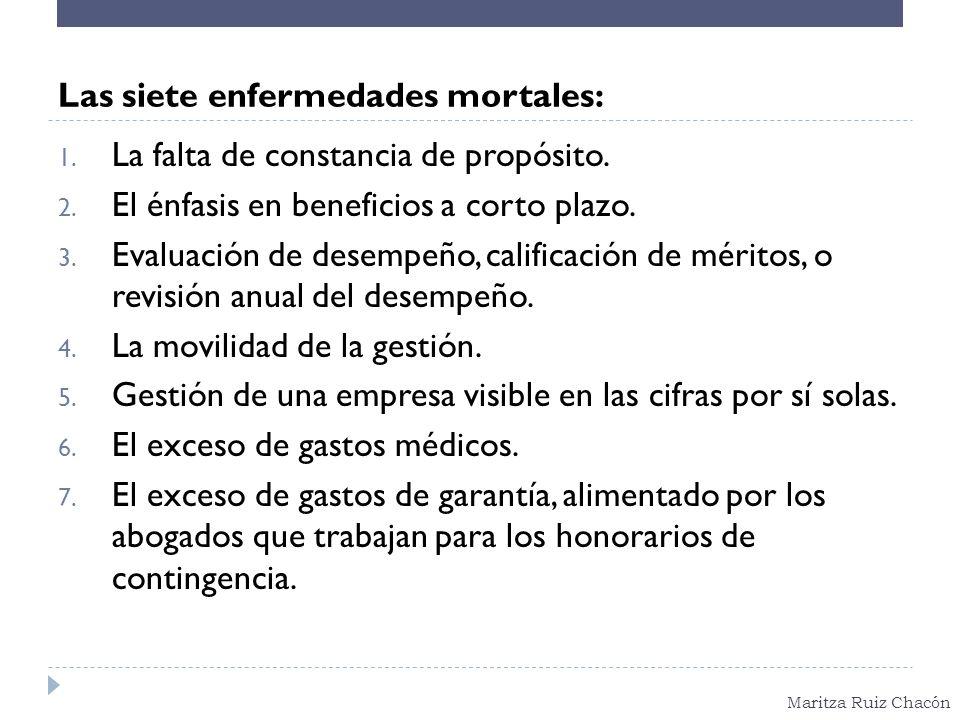 Maritza Ruiz Chacón Las siete enfermedades mortales: 1. La falta de constancia de propósito. 2. El énfasis en beneficios a corto plazo. 3. Evaluación