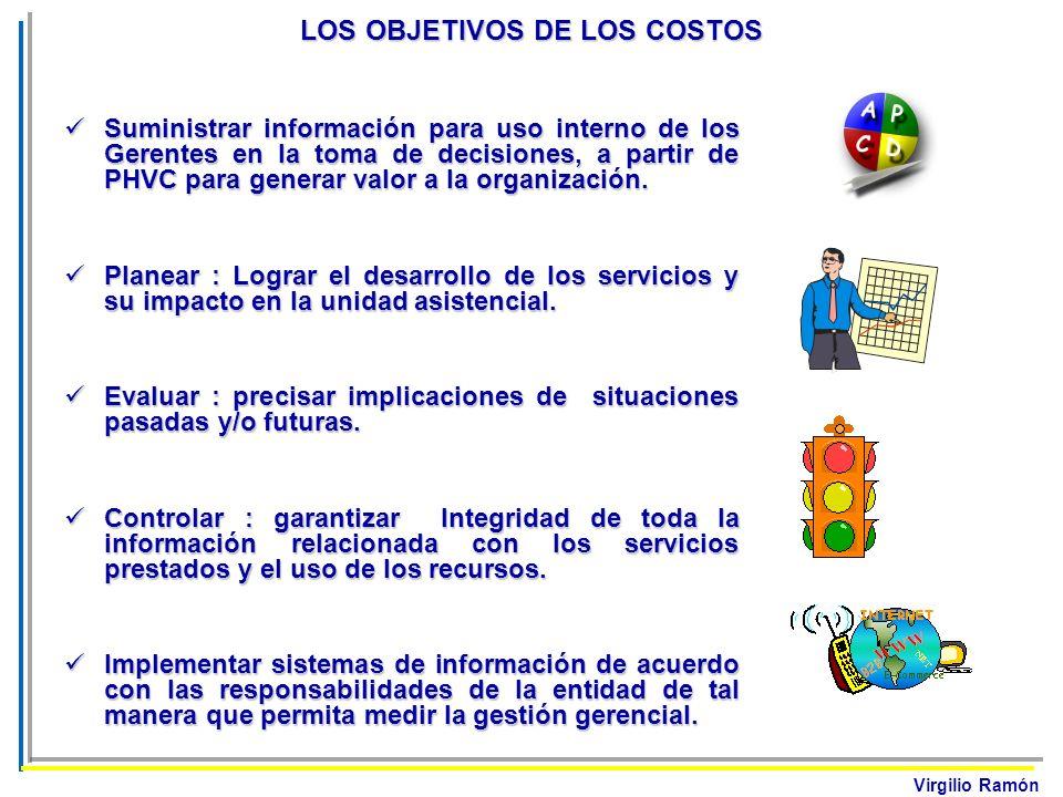 Virgilio Ramón LOS OBJETIVOS DE LOS COSTOS Suministrar información para uso interno de los Gerentes en la toma de decisiones, a partir de PHVC para ge