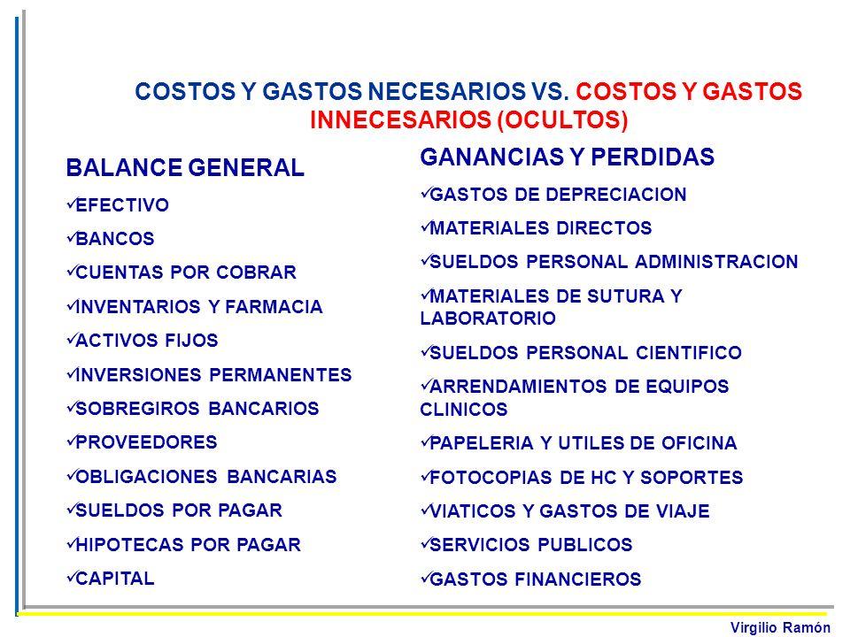 Virgilio Ramón COSTOS Y GASTOS NECESARIOS VS. COSTOS Y GASTOS INNECESARIOS (OCULTOS) BALANCE GENERAL EFECTIVO BANCOS CUENTAS POR COBRAR INVENTARIOS Y