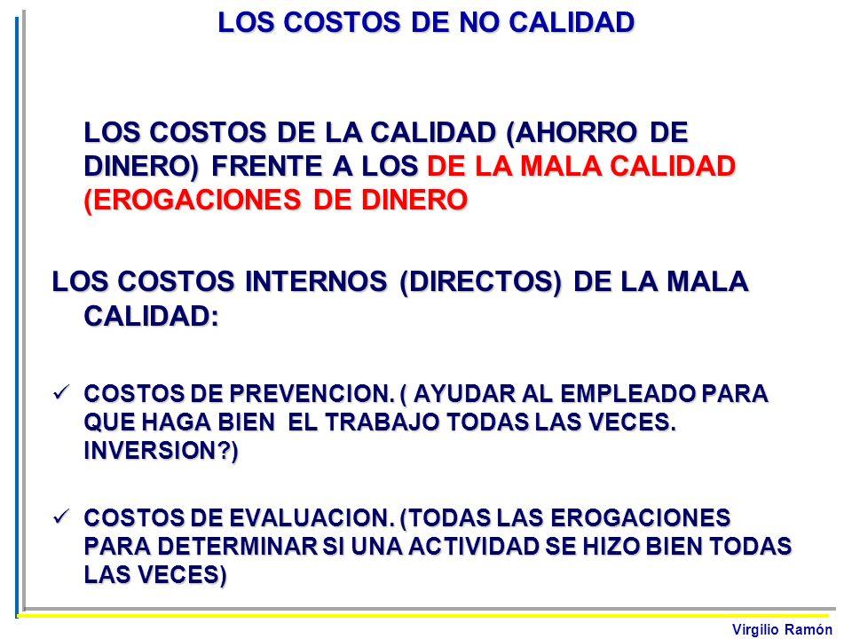 Virgilio Ramón LOS COSTOS DE NO CALIDAD LOS COSTOS DE LA CALIDAD (AHORRO DE DINERO) FRENTE A LOS DE LA MALA CALIDAD (EROGACIONES DE DINERO LOS COSTOS