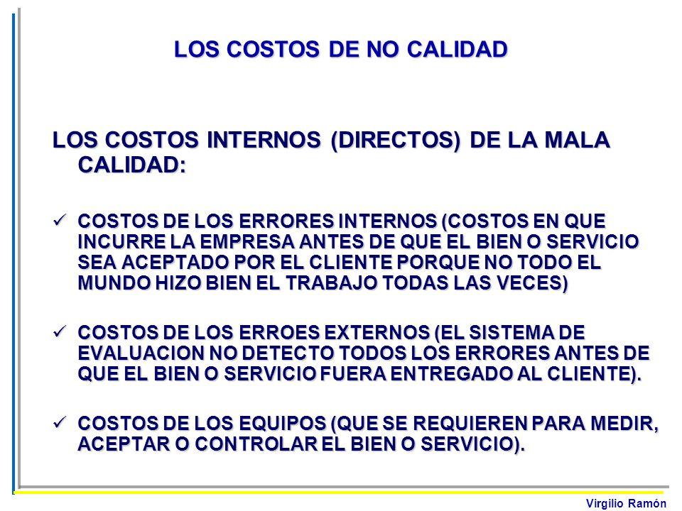 Virgilio Ramón LOS COSTOS INTERNOS (DIRECTOS) DE LA MALA CALIDAD: COSTOS DE LOS ERRORES INTERNOS (COSTOS EN QUE INCURRE LA EMPRESA ANTES DE QUE EL BIE