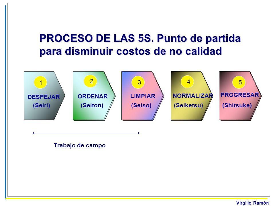 Virgilio Ramón DESPEJAR (Seiri) 1 ORDENAR (Seiton) 2 LIMPIAR (Seiso) 3 NORMALIZAR (Seiketsu) 4 PROGRESAR (Shitsuke) 5 Trabajo de campo PROCESO DE LAS