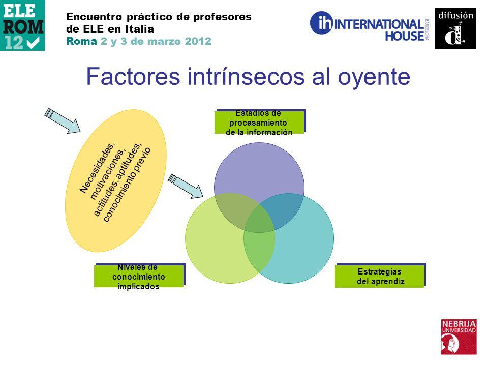 Encuentro práctico de profesores de ELE en Italia Roma 2 y 3 de marzo 2012 Factores intrínsecos al oyente Necesidades, motivaciones, actitudes, aptitu