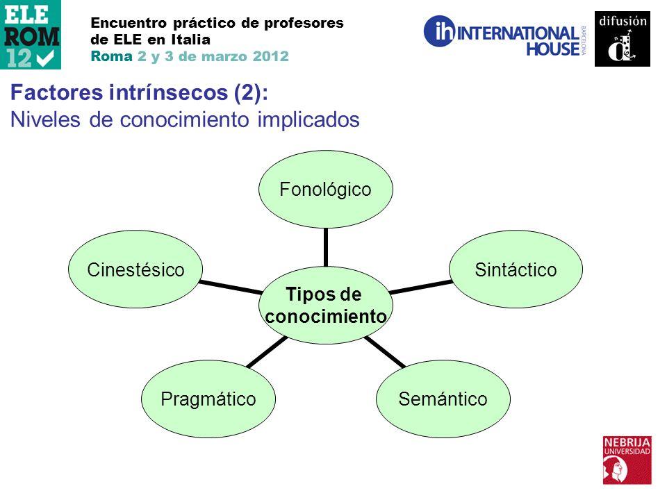 Encuentro práctico de profesores de ELE en Italia Roma 2 y 3 de marzo 2012 Factores intrínsecos (2): Niveles de conocimiento implicados Tipos de conoc