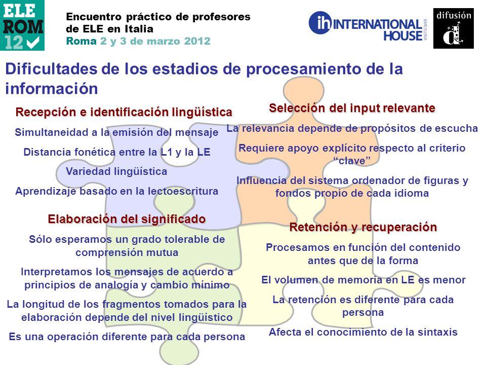 Encuentro práctico de profesores de ELE en Italia Roma 2 y 3 de marzo 2012 Dificultades de los estadios de procesamiento de la información Recepción e