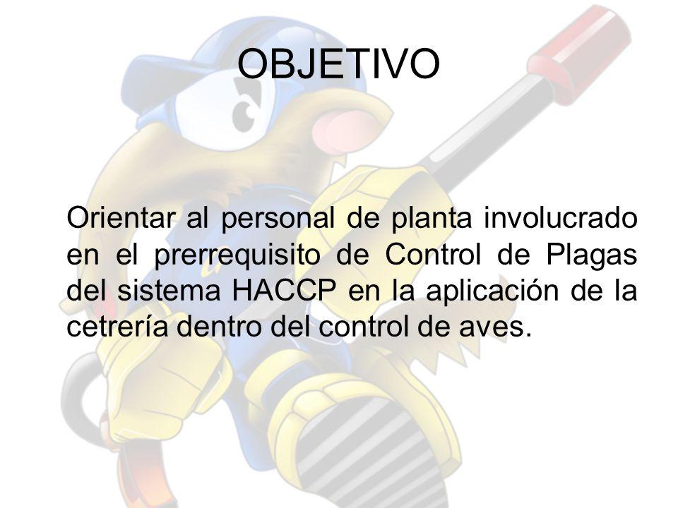 OBJETIVO Orientar al personal de planta involucrado en el prerrequisito de Control de Plagas del sistema HACCP en la aplicación de la cetrería dentro