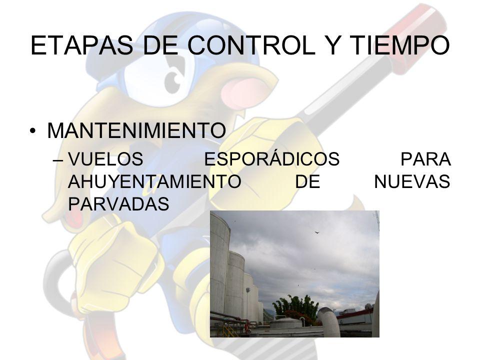 ETAPAS DE CONTROL Y TIEMPO MANTENIMIENTO –VUELOS ESPORÁDICOS PARA AHUYENTAMIENTO DE NUEVAS PARVADAS
