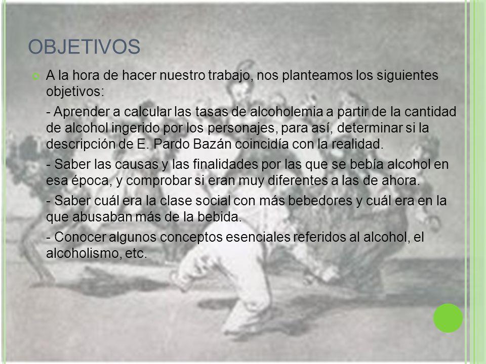 OBJETIVOS A la hora de hacer nuestro trabajo, nos planteamos los siguientes objetivos: - Aprender a calcular las tasas de alcoholemia a partir de la c