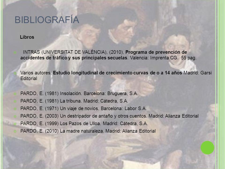 BIBLIOGRAFÍA Libros INTRAS (UNIVERSITAT DE VALÈNCIA), (2010), Programa de prevención de accidentes de tráfico y sus principales secuelas. Valencia: Im