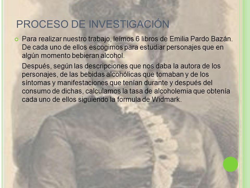 PROCESO DE INVESTIGACIÓN Para realizar nuestro trabajo, leímos 6 libros de Emilia Pardo Bazán. De cada uno de ellos escogimos para estudiar personajes