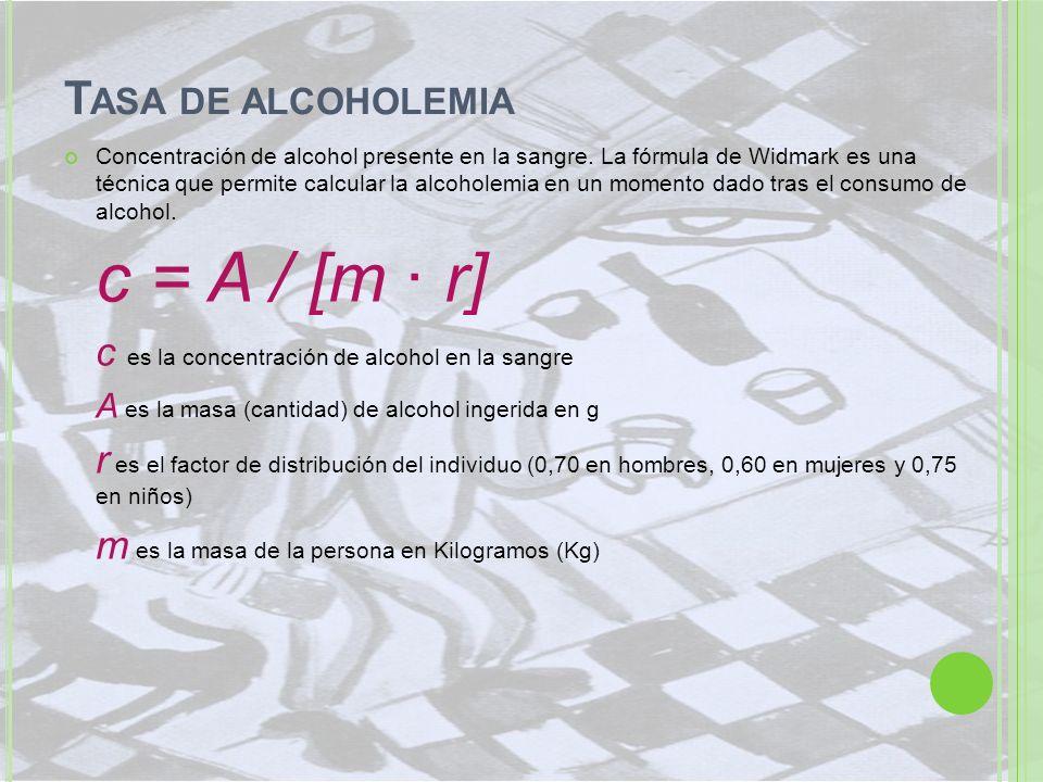 T ASA DE ALCOHOLEMIA Concentración de alcohol presente en la sangre. La fórmula de Widmark es una técnica que permite calcular la alcoholemia en un mo