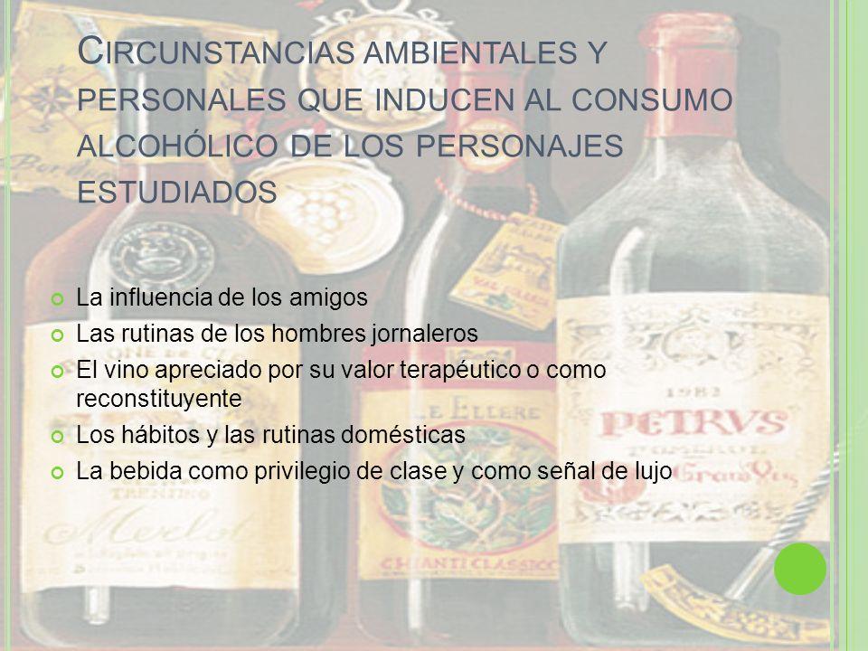 C IRCUNSTANCIAS AMBIENTALES Y PERSONALES QUE INDUCEN AL CONSUMO ALCOHÓLICO DE LOS PERSONAJES ESTUDIADOS La influencia de los amigos Las rutinas de los