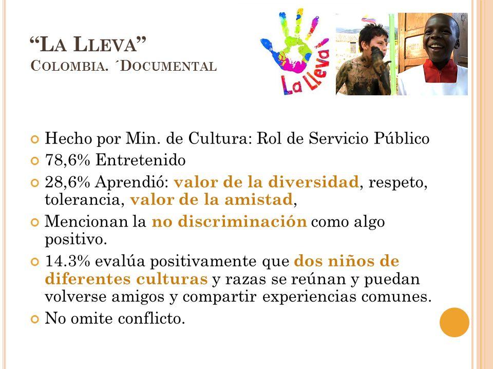 L A L LEVA C OLOMBIA. ´D OCUMENTAL Hecho por Min. de Cultura: Rol de Servicio Público 78,6% Entretenido 28,6% Aprendió: valor de la diversidad, respet