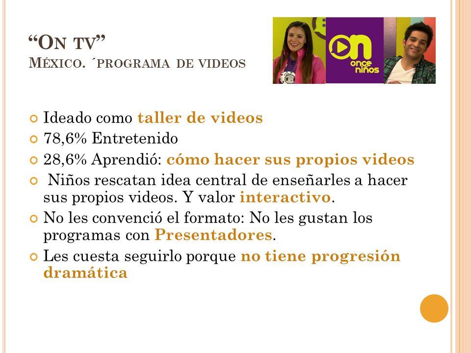 O N TV M ÉXICO. ´ PROGRAMA DE VIDEOS Ideado como taller de videos 78,6% Entretenido 28,6% Aprendió: cómo hacer sus propios videos Niños rescatan idea