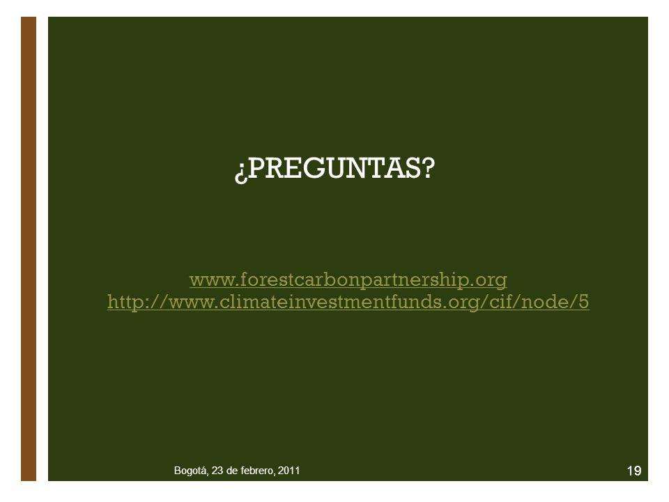 ¿PREGUNTAS? www.forestcarbonpartnership.org http://www.climateinvestmentfunds.org/cif/node/5 Bogotá, 23 de febrero, 2011 19