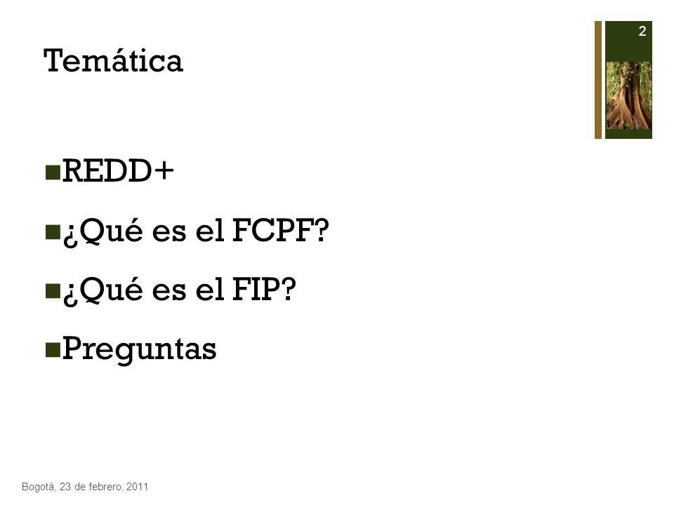 Temática REDD+ ¿Qué es el FCPF? ¿Qué es el FIP? Preguntas 2 Bogotá, 23 de febrero, 2011