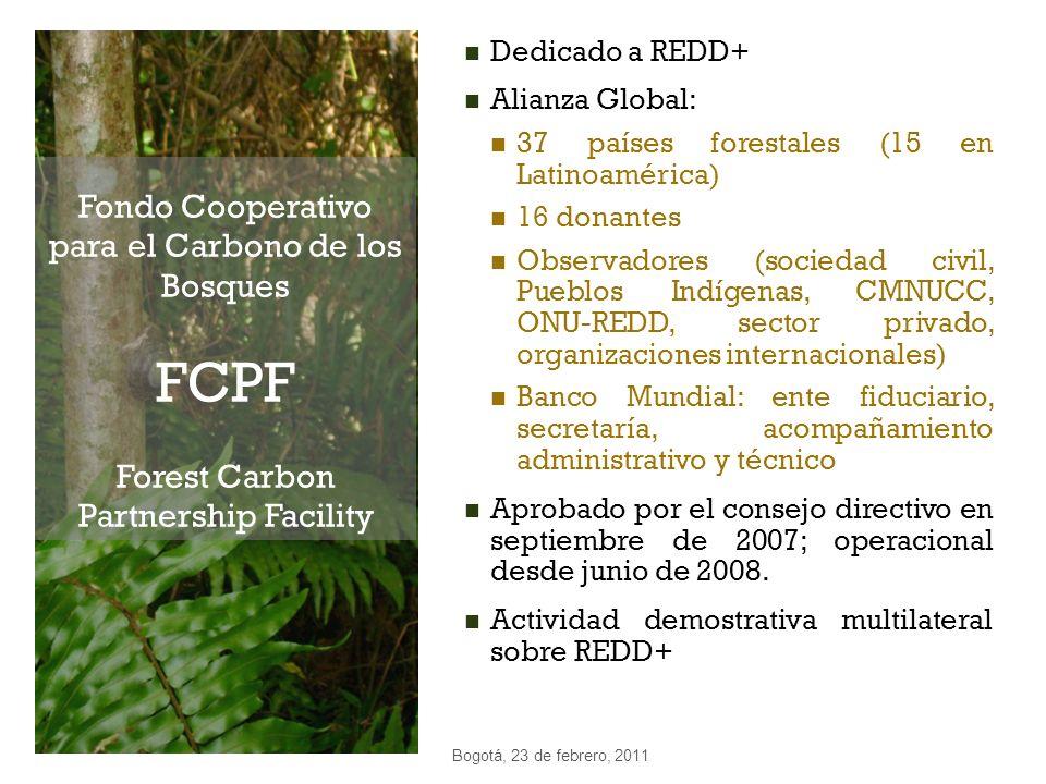 Fondo Cooperativo para el Carbono de los Bosques FCPF Forest Carbon Partnership Facility Dedicado a REDD+ Alianza Global: 37 países forestales (15 en