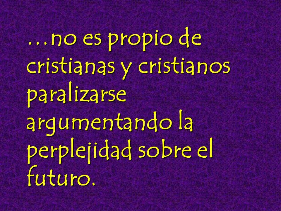 …no es propio de cristianas y cristianos paralizarse argumentando la perplejidad sobre el futuro.