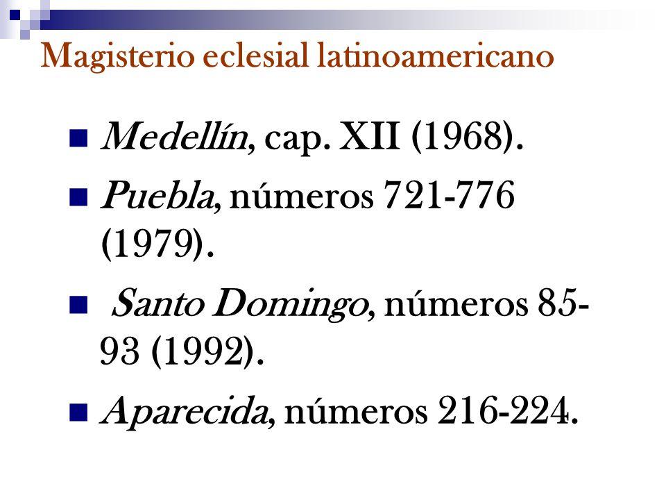 Magisterio eclesial latinoamericano Medellín, cap. XII (1968). Puebla, números 721-776 (1979). Santo Domingo, números 85- 93 (1992). Aparecida, número