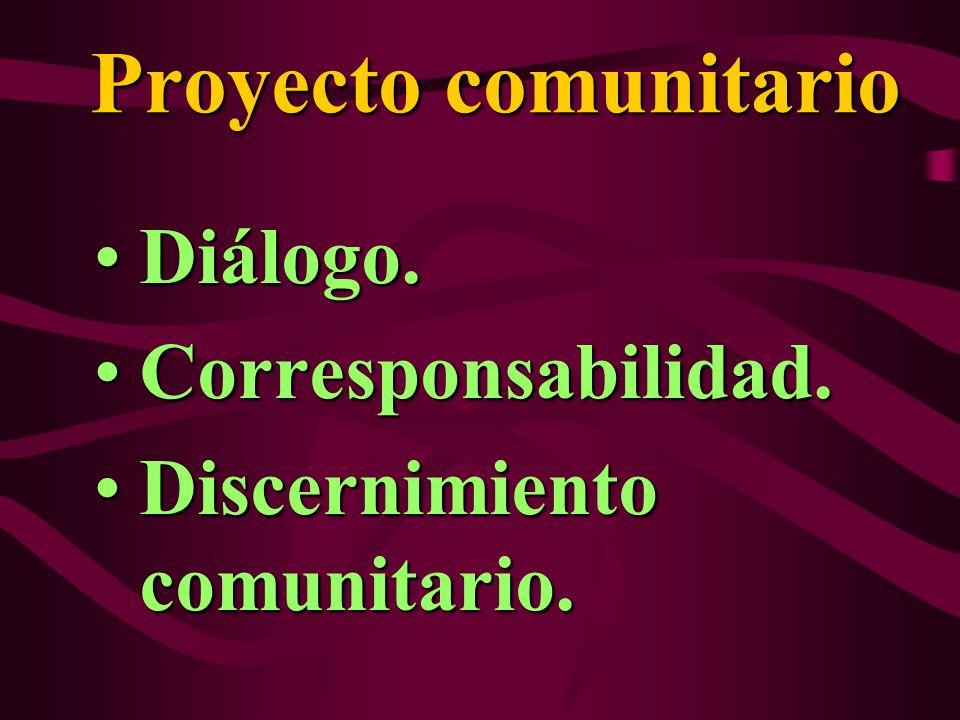 Proyecto comunitario Diálogo.Diálogo. Corresponsabilidad.Corresponsabilidad. Discernimiento comunitario.Discernimiento comunitario.