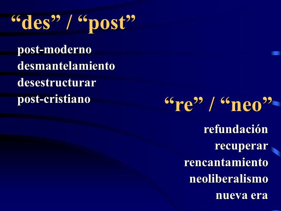 des / post post-modernodesmantelamientodesestructurarpost-cristiano re / neo refundaciónrecuperarrencantamientoneoliberalismo nueva era