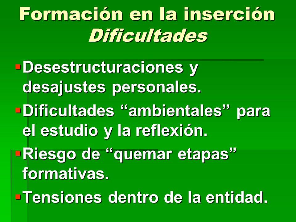 Formación en la inserción Dificultades Desestructuraciones y desajustes personales. Desestructuraciones y desajustes personales. Dificultades ambienta