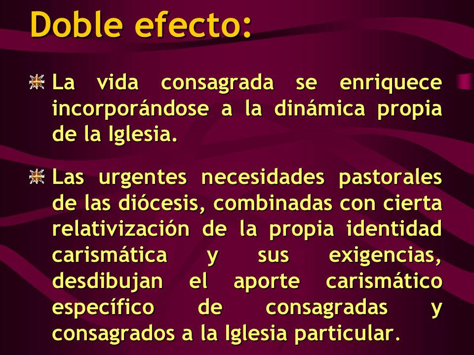 Doble efecto: La vida consagrada se enriquece incorporándose a la dinámica propia de la Iglesia. Las urgentes necesidades pastorales de las diócesis,