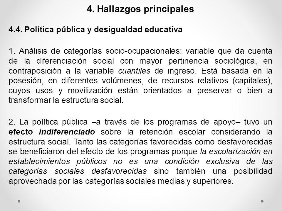 4. Hallazgos principales 4.4. Política pública y desigualdad educativa 1. Análisis de categorías socio-ocupacionales: variable que da cuenta de la dif