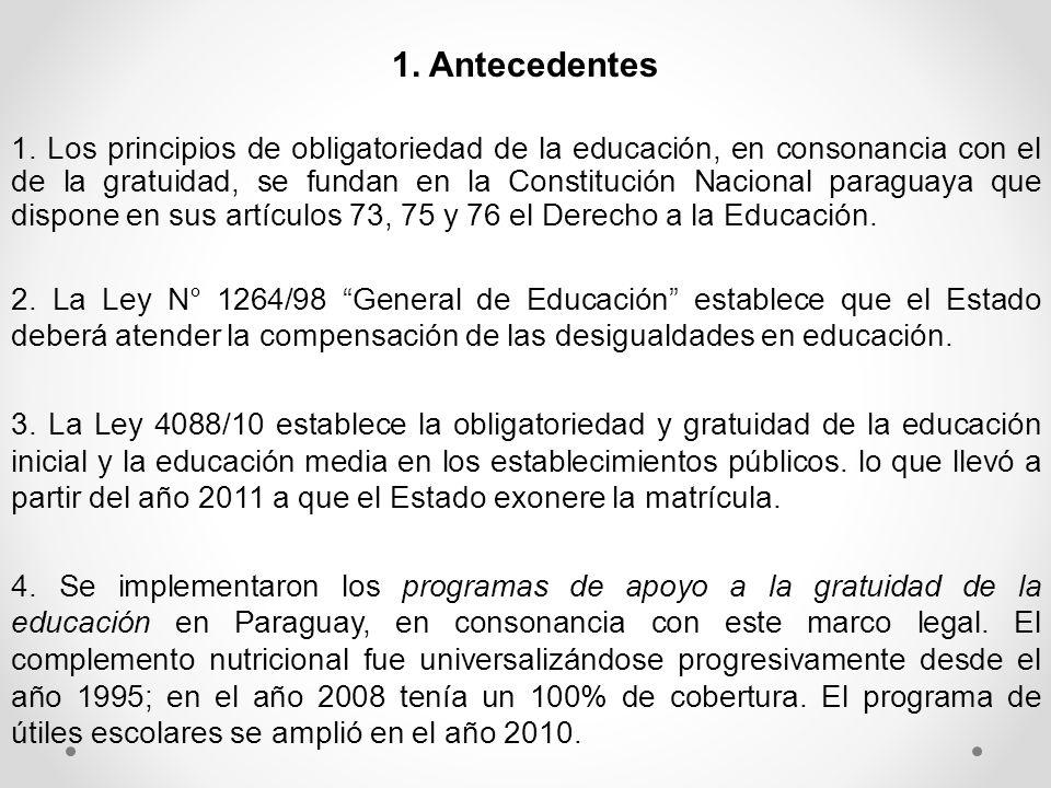 1. Los principios de obligatoriedad de la educación, en consonancia con el de la gratuidad, se fundan en la Constitución Nacional paraguaya que dispon