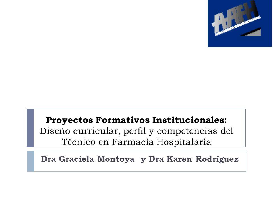 Proyectos Formativos Institucionales: Diseño curricular, perfil y competencias del Técnico en Farmacia Hospitalaria Dra Graciela Montoya y Dra Karen R