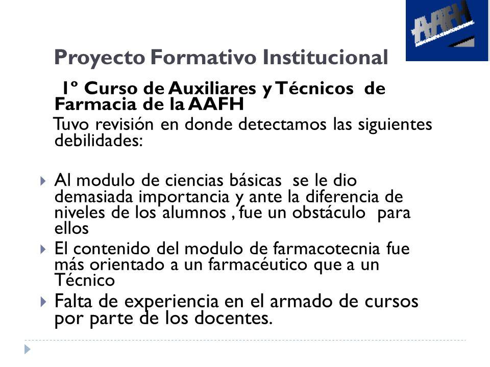 Proyecto Formativo Institucional 1º Curso de Auxiliares y Técnicos de Farmacia de la AAFH Tuvo revisión en donde detectamos las siguientes debilidades