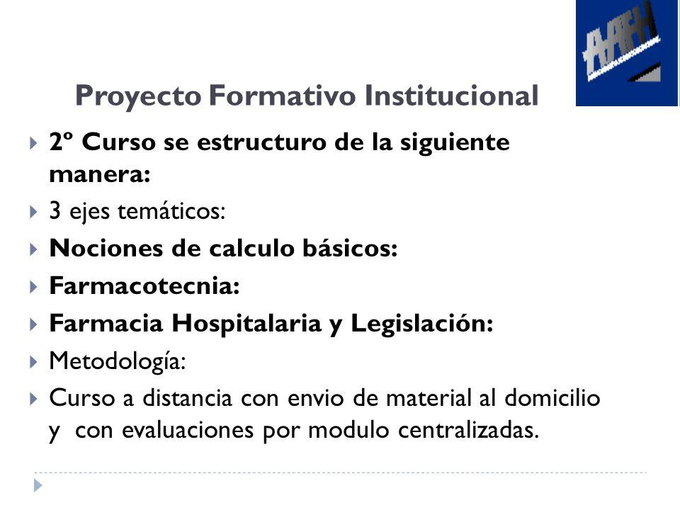Proyecto Formativo Institucional 2º Curso se estructuro de la siguiente manera: 3 ejes temáticos: Nociones de calculo básicos: Farmacotecnia: Farmacia