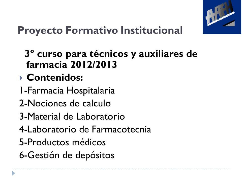 Proyecto Formativo Institucional 3º curso para técnicos y auxiliares de farmacia 2012/2013 Contenidos: 1-Farmacia Hospitalaria 2-Nociones de calculo 3