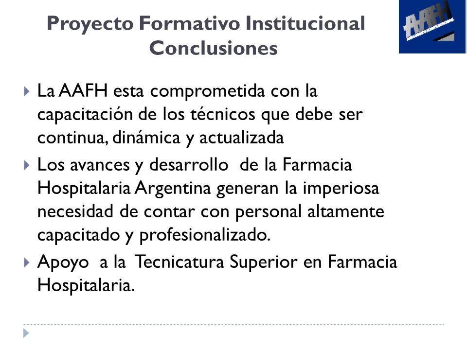Proyecto Formativo Institucional Conclusiones La AAFH esta comprometida con la capacitación de los técnicos que debe ser continua, dinámica y actualiz