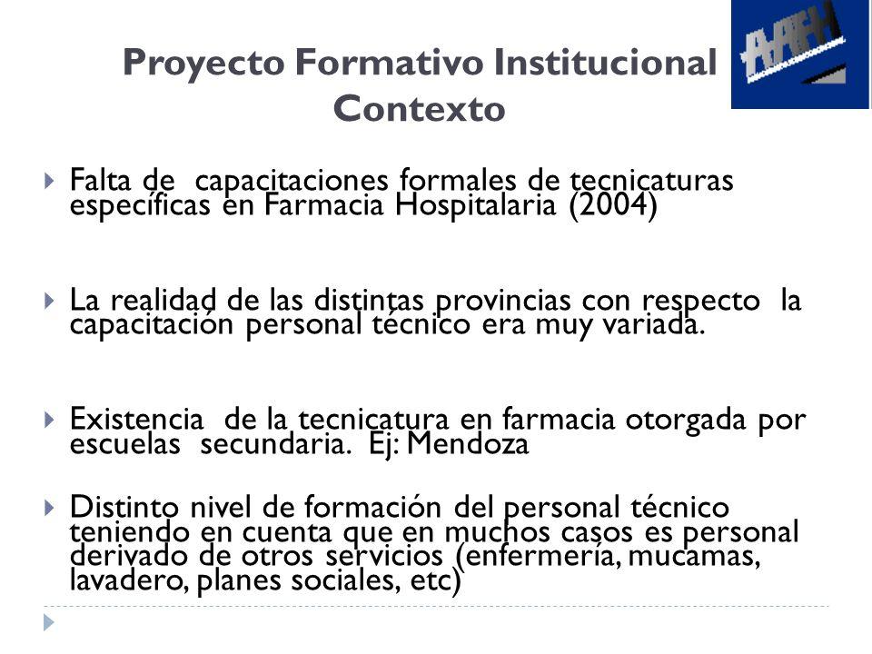 Proyecto Formativo Institucional Contexto Falta de capacitaciones formales de tecnicaturas específicas en Farmacia Hospitalaria (2004) La realidad de