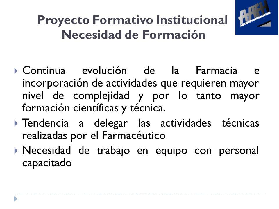 Proyecto Formativo Institucional Necesidad de Formación Continua evolución de la Farmacia e incorporación de actividades que requieren mayor nivel de