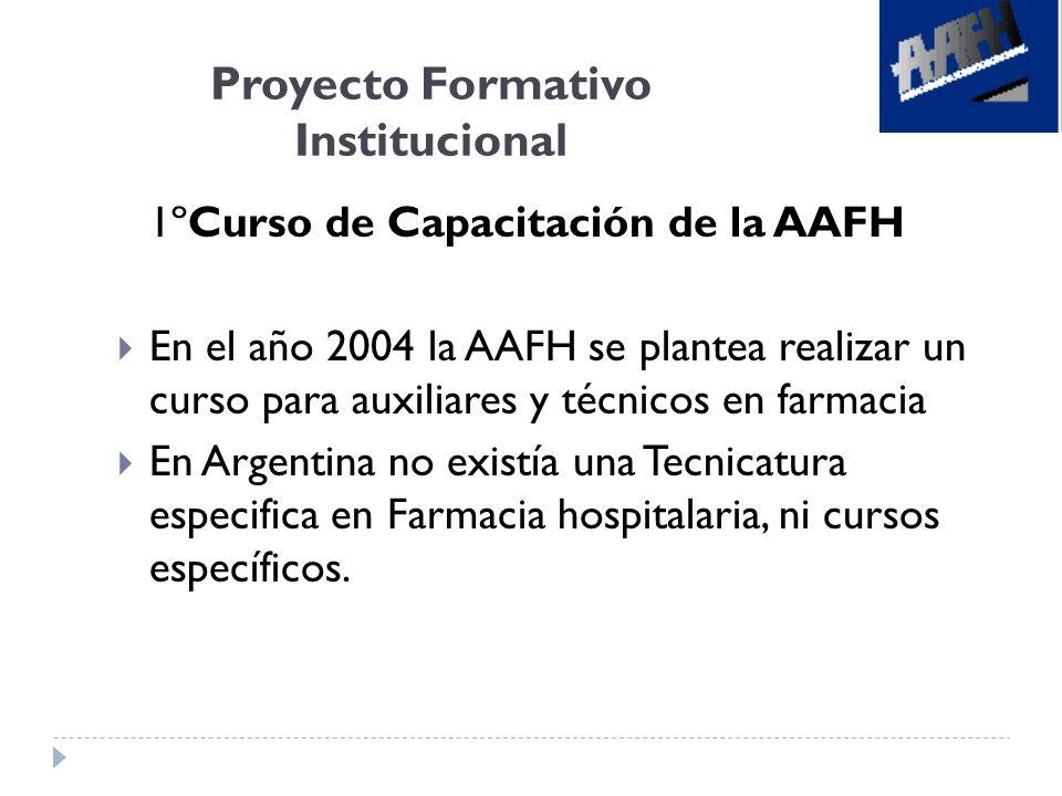 Proyecto Formativo Institucional 1ºCurso de Capacitación de la AAFH En el año 2004 la AAFH se plantea realizar un curso para auxiliares y técnicos en