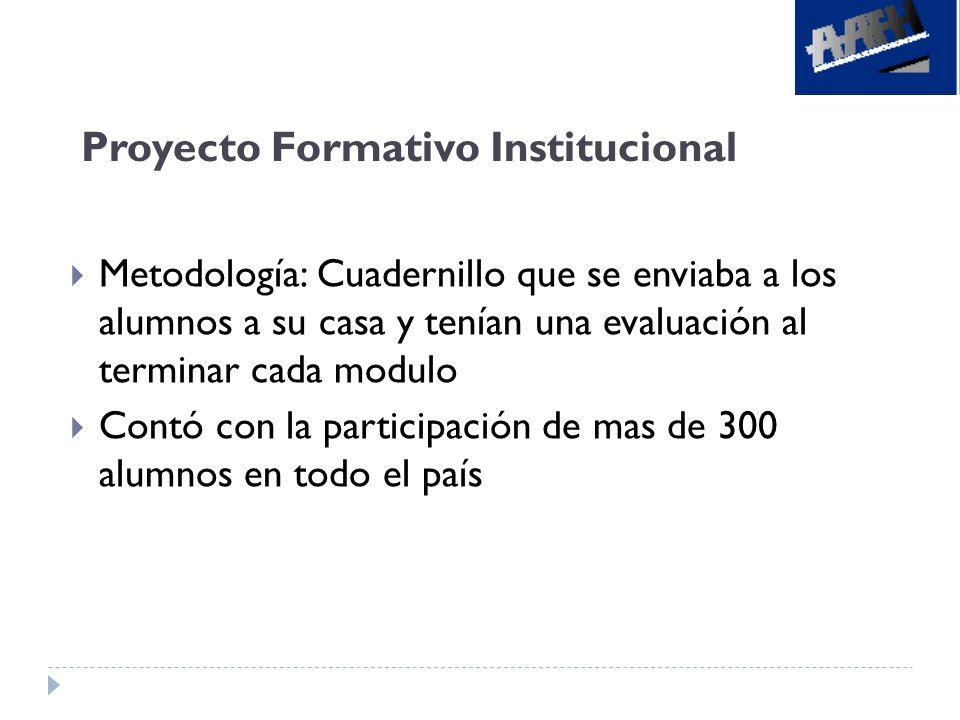 Metodología: Cuadernillo que se enviaba a los alumnos a su casa y tenían una evaluación al terminar cada modulo Contó con la participación de mas de 3