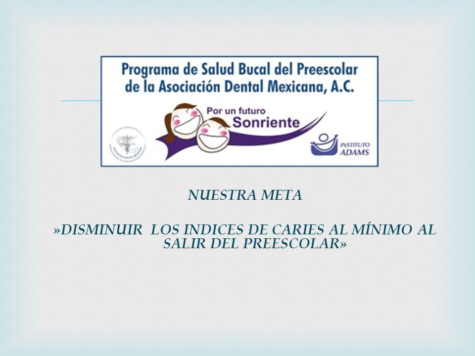 NUESTRA META »DISMINUIR LOS INDICES DE CARIES AL MÍNIMO AL SALIR DEL PREESCOLAR»