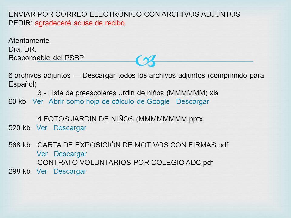ENVIAR POR CORREO ELECTRONICO CON ARCHIVOS ADJUNTOS PEDIR: agradeceré acuse de recibo. Atentamente Dra. DR. Responsable del PSBP 6 archivos adjuntos D