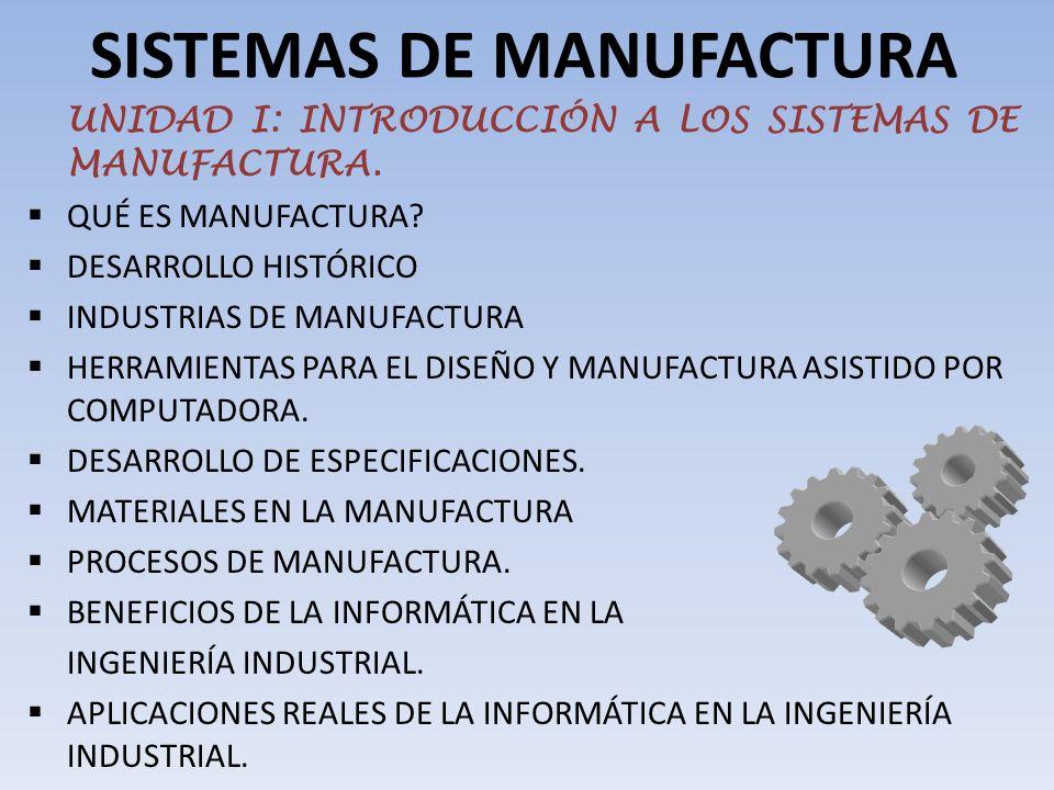 SISTEMAS DE MANUFACTURA UNIDAD I: INTRODUCCIÓN A LOS SISTEMAS DE MANUFACTURA.