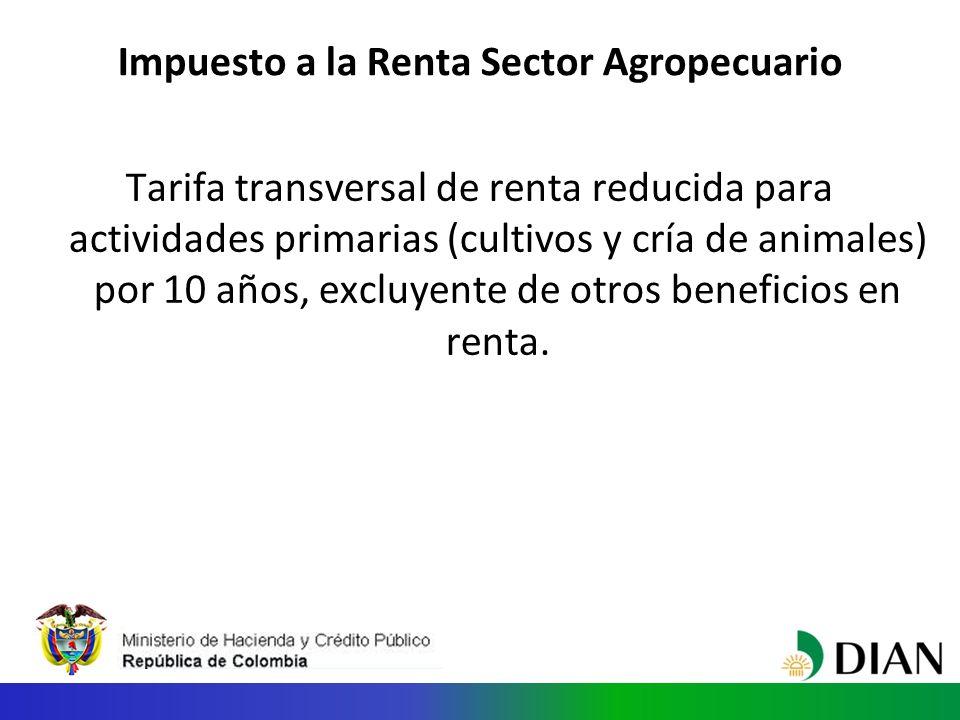 Impuesto a la Renta Sector Agropecuario Tarifa transversal de renta reducida para actividades primarias (cultivos y cría de animales) por 10 años, excluyente de otros beneficios en renta.
