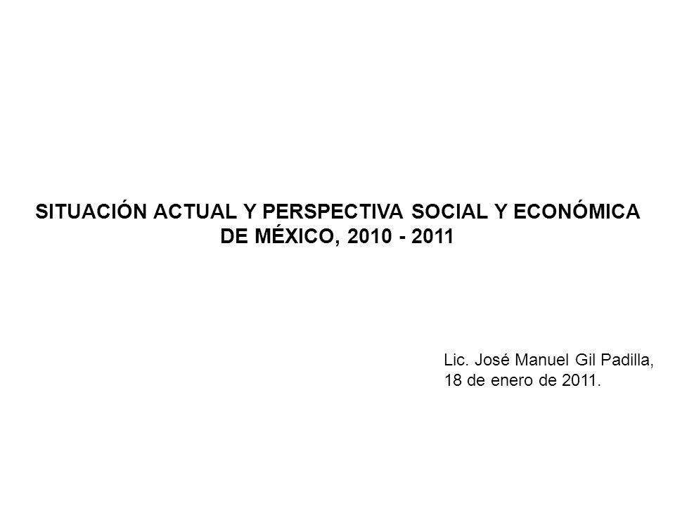 SITUACIÓN ACTUAL Y PERSPECTIVA SOCIAL Y ECONÓMICA DE MÉXICO, 2010 - 2011 Lic.