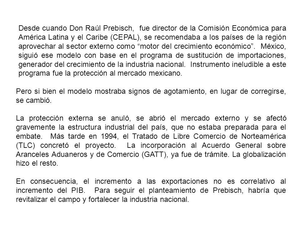 Desde cuando Don Raúl Prebisch, fue director de la Comisión Económica para América Latina y el Caribe (CEPAL), se recomendaba a los países de la región aprovechar al sector externo como motor del crecimiento económico.