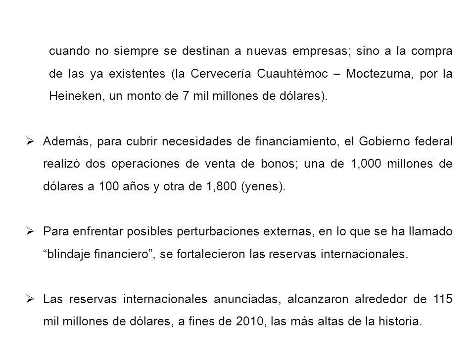 Se concertó una línea de crédito flexible con el Fondo Monetario Internacional (FMI) de 73 mil millones de dólares, vigente durante dos años, para enfrentar eventuales perturbaciones externas, y en su caso, sea sumable a las reservas que se pretende asciende a 200 mil millones de dólares a fines de año.