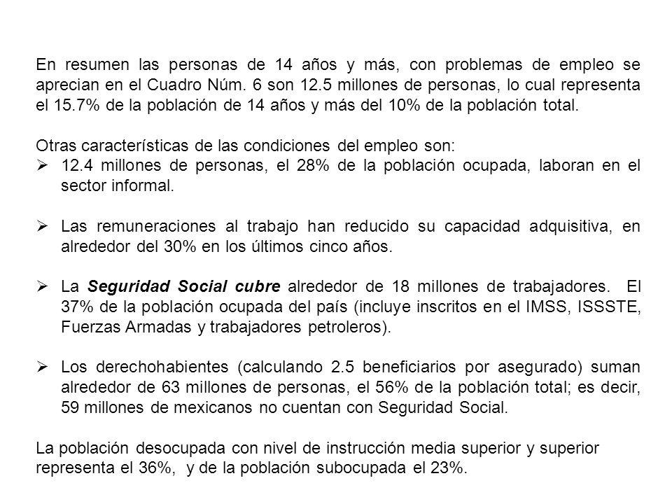 La pirámide de la población muestra que una proporción importante está en años productivos, lo cual, es llamado el bono demográfico; es decir, la población que puede estar ocupada, o educándose en niveles medio o superior; pero en México se desaprovecha.