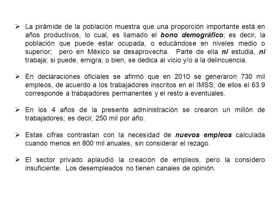 El salario mínimo que regirá para 2011 es de 58.06 pesos diarios, 1742 mensuales, 4.1% mayor que el 2010 y significa 2.29 pesos diarios más, que no alcanza ni para un pasaje en el Metro y sólo para ¼ de kilo de tortillas.